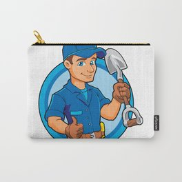 Cartoon plumber holding a big shovel. Carry-All Pouch