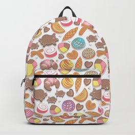 Mexican Sweet Bakery Frenzy // white background // pastel colors pan dulce Backpack