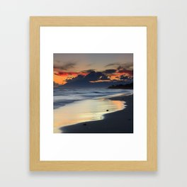Magic red clouds. Sea dreams Framed Art Print