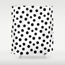 Black polka dots Shower Curtain