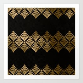 Reims, France: Luxueux Black and Gold Art Deco Art Print