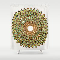 70s Shower Curtains featuring Peacock Mandala – 70s Palette by Cat Coquillette