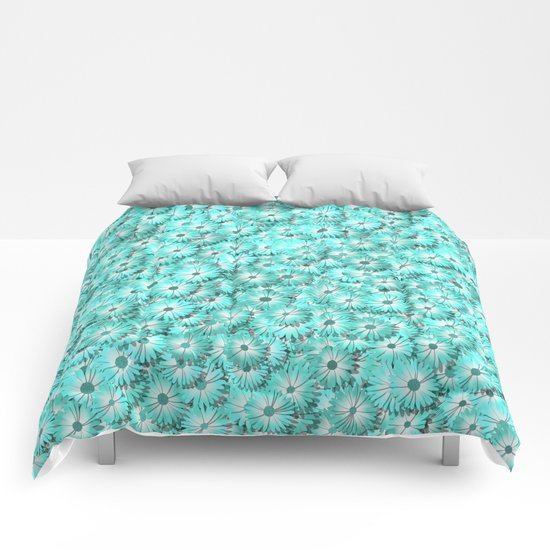 Teal daisy flowers Comforters