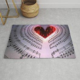 'For the Love of Music' Sheet Music Art Motif Rug