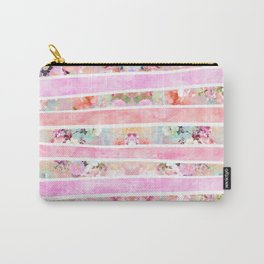 Modern floral watercolor girly pastel pink stripes Carry-All Pouch