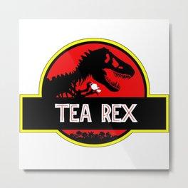 tea rex dinosaurus novelty Metal Print