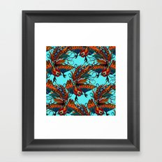 rooster ink turquoise Framed Art Print