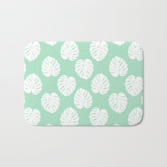 House plant monstera leaf tropical trendy pattern mint and white gender neutral decor Bath Mat
