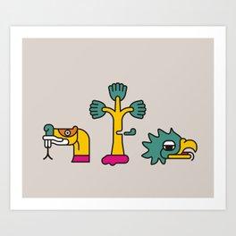 Aztec Glyphs ~3 Art Print