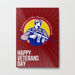 Modern Soldier Veterans Day Greeting Card Side Metal Print