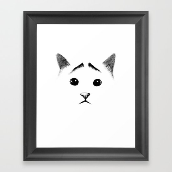 Cat with eyebrows Framed Art Print