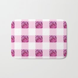 Pink Rose Check Pattern Bath Mat