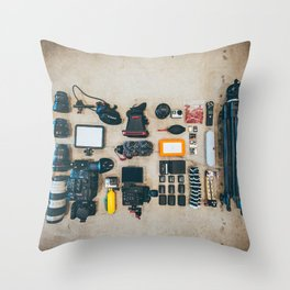 CAMERA - GEAR - LIGHTING - TRIPOD - PHOTOGRAPHY Throw Pillow