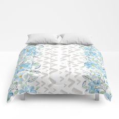 Gray arrows and blue flowers Comforters