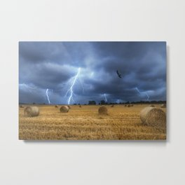 Lightning storm over hay bales on the field Metal Print