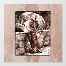 Love in the rain style MistyRose Canvas Print