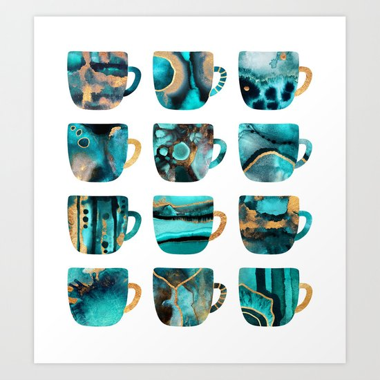 My Favorite Coffee Cups Art Print