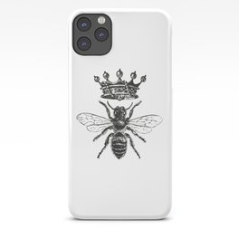 Queen Bee | Vintage Bee with Crown | Black and White | iPhone Case