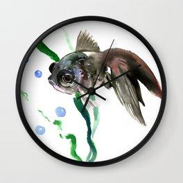 Black Fish, Aquarium Fish Illustration Wall Clock