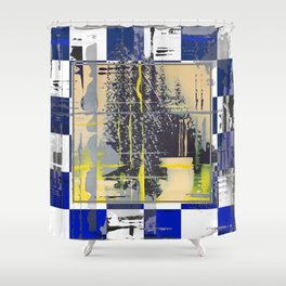 Sunday Morning - blue check Shower Curtain