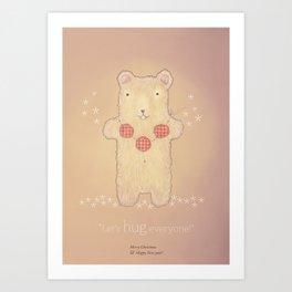 Christmas creatures- The Loving Bear Art Print
