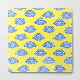 Lotus Pattern Yellow Metal Print