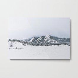 Boulder Flatirons with Snow Metal Print