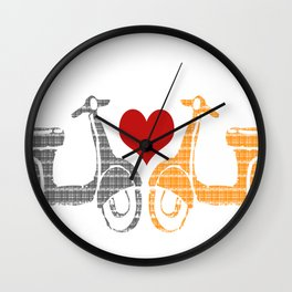 Vespa scooters in love Wall Clock