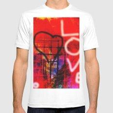 Love Graffiti White MEDIUM Mens Fitted Tee
