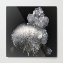 Mesolite Crystal Metal Print