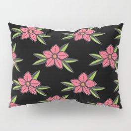Hand Drawn Old School Tattoo Flower - Black Pillow Sham