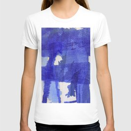 Blue abstract linen T-shirt