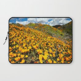 California Poppies Low Poly Geometric Triangles Laptop Sleeve