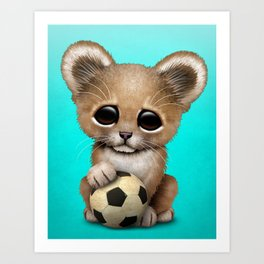 Lion Cub With Football Soccer Ball Art Print