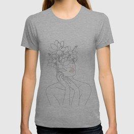 Minimal Line Art Woman with Magnolia T-shirt