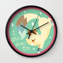 I Don't Give A FOX! .:Green BG:. Wall Clock