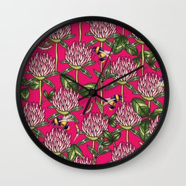 Red clover pattern Wall Clock