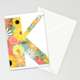 The Letter K with Flowers - Folk Art Textured Stationery Cards