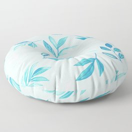 Tropical Turquoise Leaves - light blue Floor Pillow