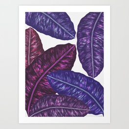 Tropical Leaves - Ultra Violet 1 Art Print