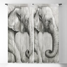 Elephant Black and White Watercolor Blackout Curtain