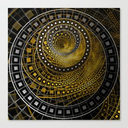 Golden Film Strips in Noir Nested Fractal Circles Canvas Print