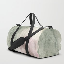 Abstract blush pink green white watercolor brushstrokes Duffle Bag