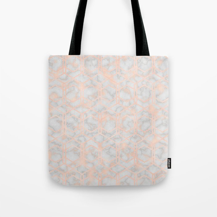 Geometric rose gold art deco on smokey marble Tote Bag