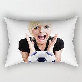 Crazy Female Soccer Fan Rectangular Pillow