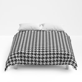Friendly Houndstooth Pattern, black and white Comforters