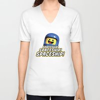 spaceship V-neck T-shirts featuring Spaceship! by D-fens