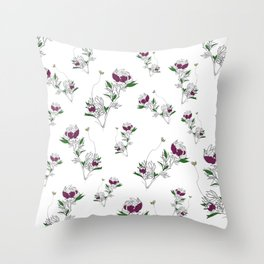 Save The Bees Floral Pattern Illustration Throw Pillow