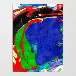 Marble Ink in Blue Green Red Black Purple Poster