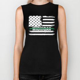 Michigan Customs and Border Control Agents Gift for US Customs and Border Control Agents Thin Green Biker Tank